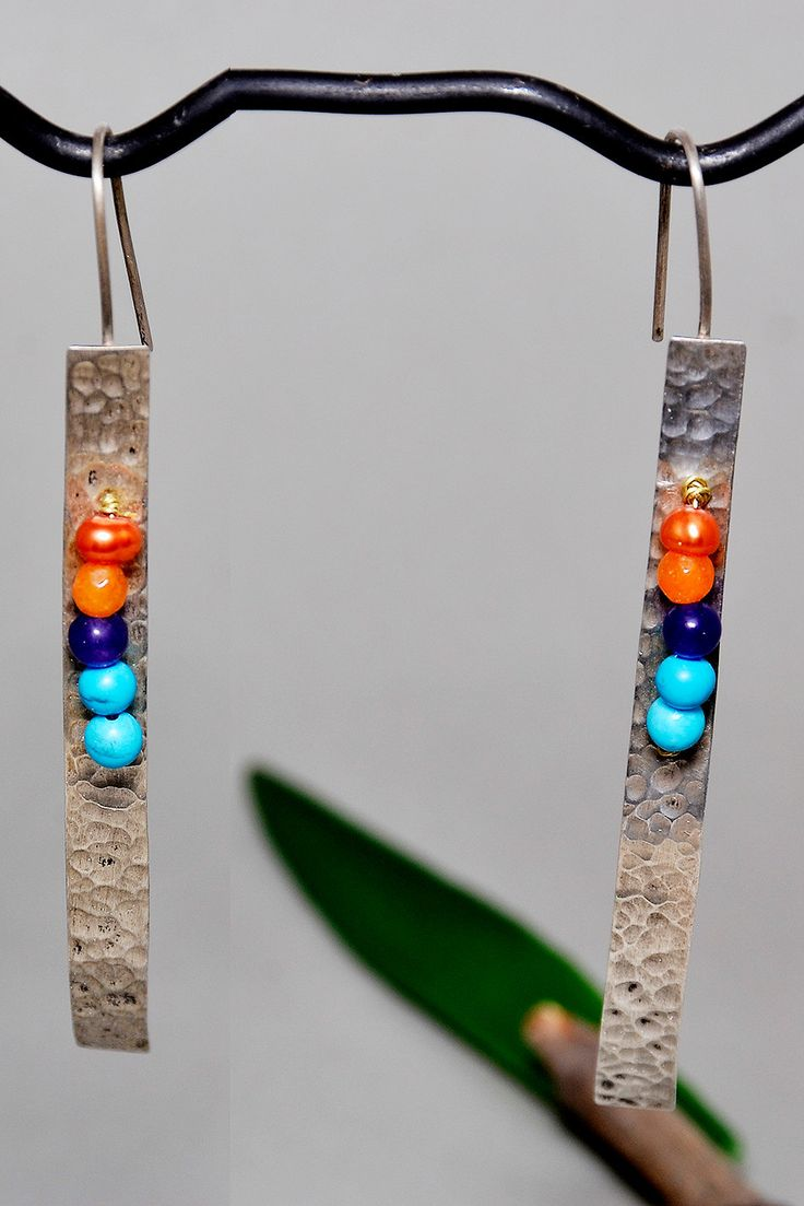 Silver  long  hammered earrings with orange, purple  and turquoise jade , orange fresh water pearl by NataliaNorenasilver on Etsy