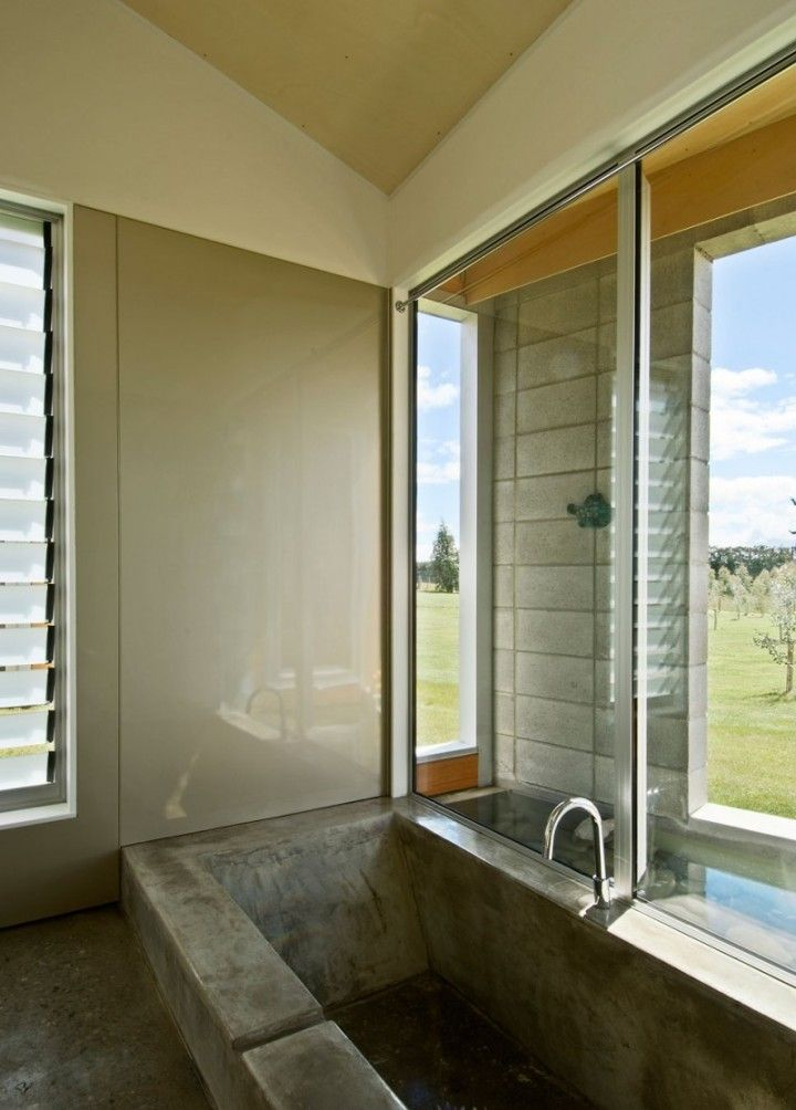 Awesome Contemporary Residence Home Small Concrete Bathroom Design Sustainable Cornege Preston House In New Zealand