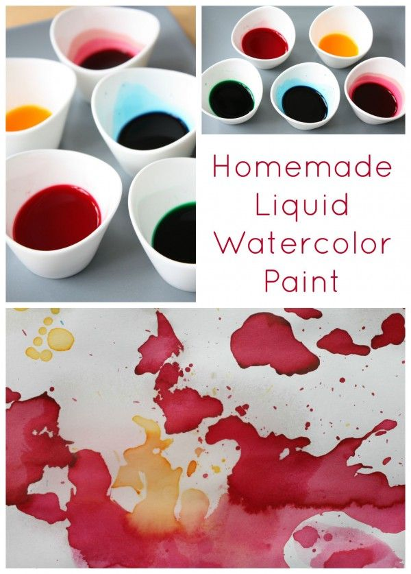 Homemade Liquid Watercolor Paint. So easy to make, quick and cheap! Perfect for all kinds of craft projects.