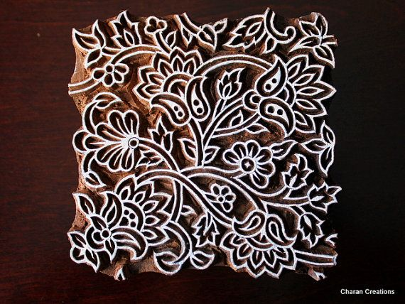 Hand Carved Indian Wood Textile Stamp Block- Floral Seamless pattern