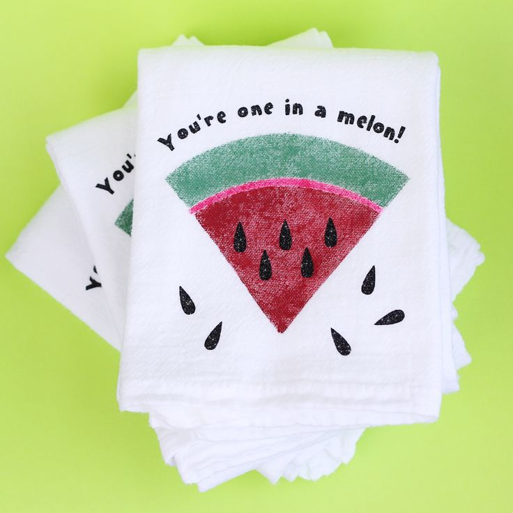 For this week's free design from Silhouette America, my goal was a quick and easy project. Watermelon dish towels using stencil material and fabric ink.