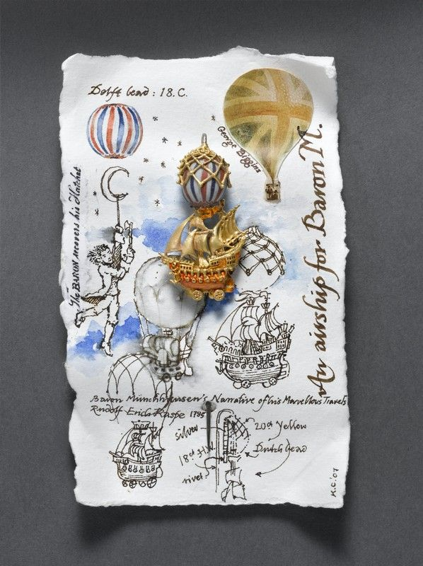 An Airship for Baron M. design by Kevin Coates. 20ct. gold, 18th century Delft glass bead, 18ct. white gold pin.