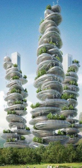 Futuristische Architektur, Asian Cairns Project, nachhaltige Farmscrapers für Rura