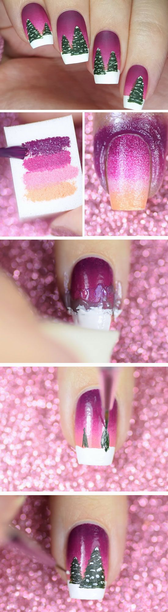 Snowy Tree Landscape | Cute Holiday Nail Art Ideas Christmas Design