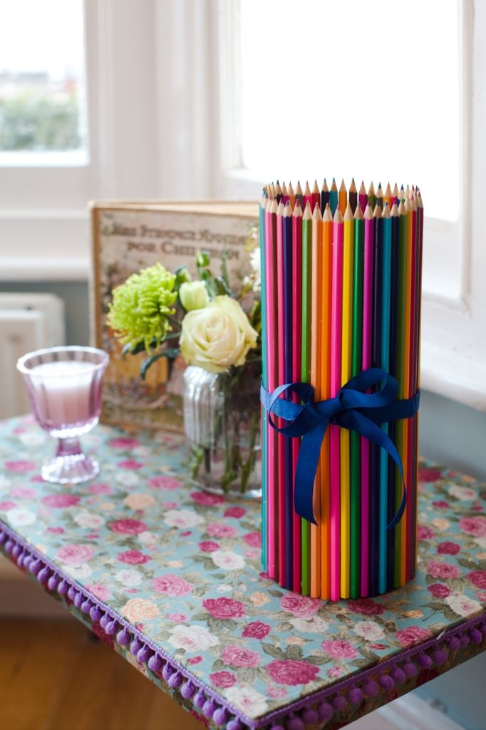 Five Fab Upcycled Vases - Colourful Pencil Vase by Hannah Read-Baldrey #upcycling #vase #pencils