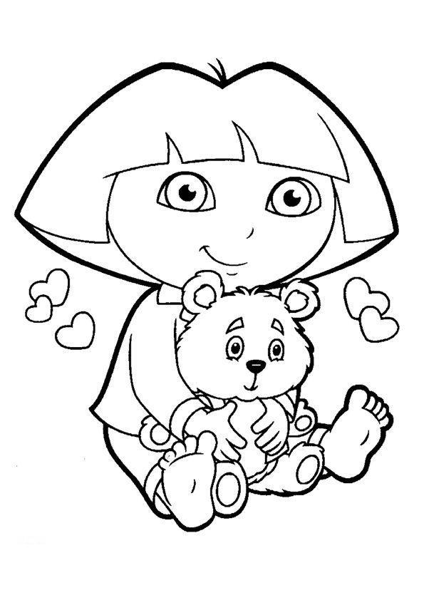 dora print color | New! Dora The Explorer coloring pages featuring dress up Dora, Boots ...