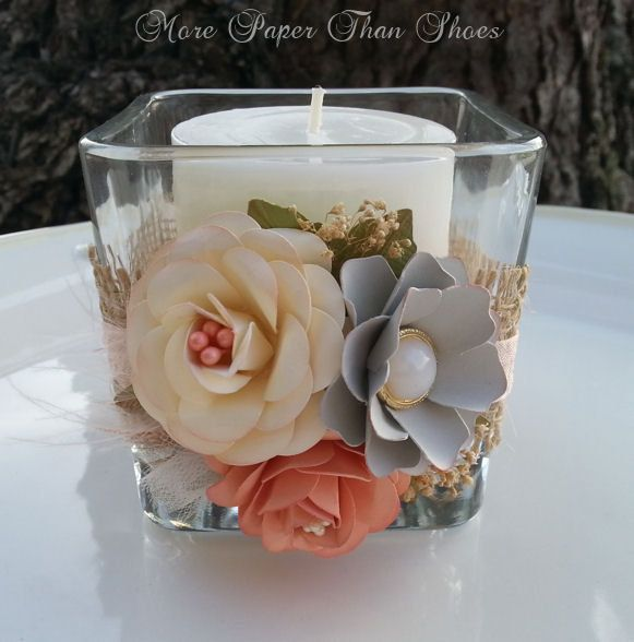 Paper Flowers   Candle Holder   Burlap Vase   Altered Jar   Wedding  Decorations   Table Setting   Peach   Ivory   Gray   Made To Order