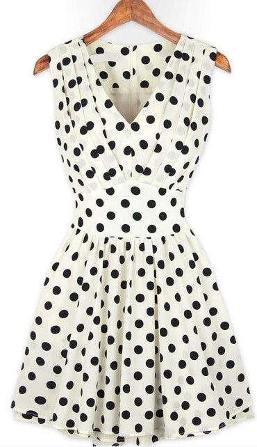 Sleeveless Polka Dot A Line Mini Dress