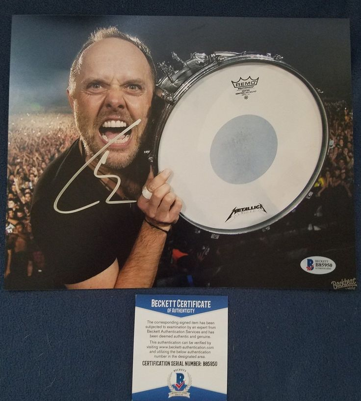 This is an 8x10 photo that has been hand signed by Metallica drummer and rock and roll Hall of Fame member Lars Ulrich. Lars has signed this photo in ... #photo #beckett #authenticated #signed #hand #ulrich #metallica #lars