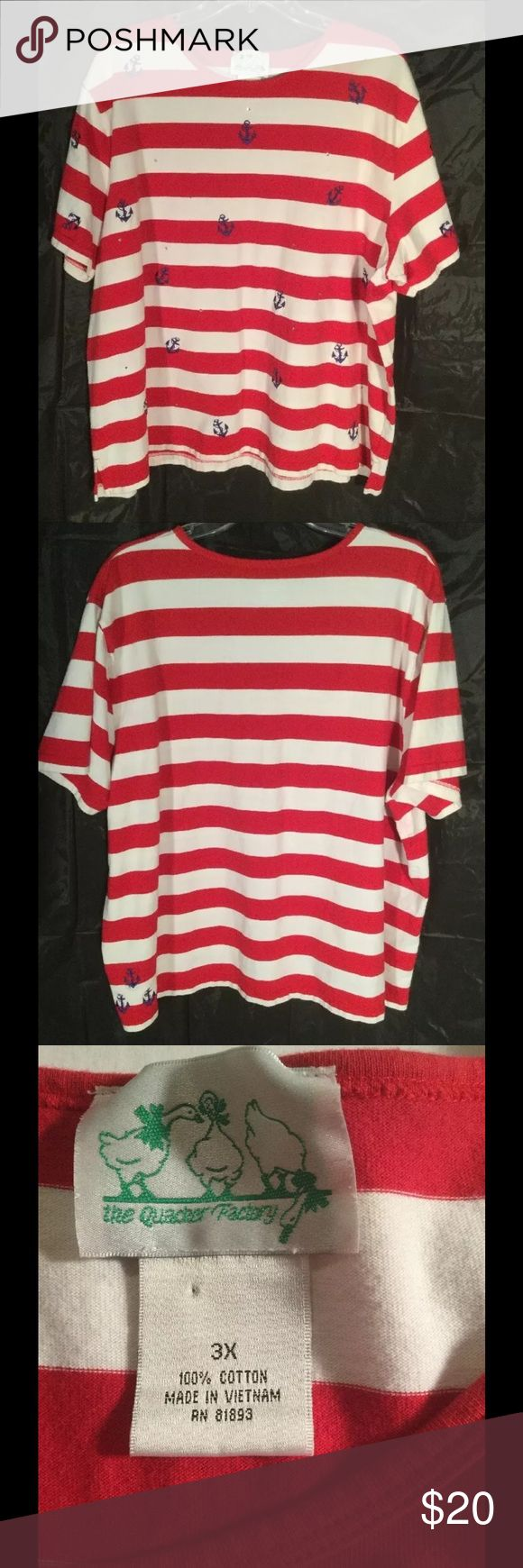 """2X PLUS SIZE TOP NAUTICAL THEME SHORT SLEEVE Great looking woman's plus size crew neck pullover shirt blouse. Nautical theme with blue anchor and rhinestones. Bold red stripes. 100% cotton. Tag size 3X.  pit to pit: 27"""" length: 26.5"""" short sleeves the quacker factory Tops Tees - Short Sleeve"""