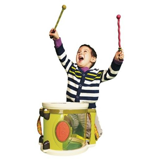 The B. Parum Pum Pum drum offers loads of fun to your child. It comes with drumsticks, jingle bells, a maraca with clacker, a tambourine and a shaker egg. The drum has a big handle with soft cotton strap that makes it easy for your child to carry it. Your child will love making music with this toy drum set. All the pieces of this kids drum set are made of plastic. It's suitable for children aged 18-24 months.