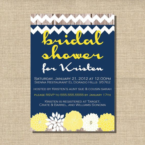 31 best images about bridal shower on pinterest anchors for Yellow bridal shower invitations