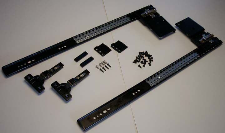 Accuride 123/1234 Flipper door slides, TV swivels, and Keyboard pull out trays from Eclectic-ware.
