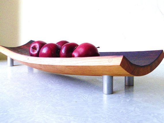 Mid century modern serving tray bowl platter. repurposed wine barrel. eco friendly gift. French oak cutting board