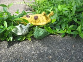 Display a project from the Customer Gallery at Lion Brand Yarn: Banana Slug Amigurumi (small & medium size)