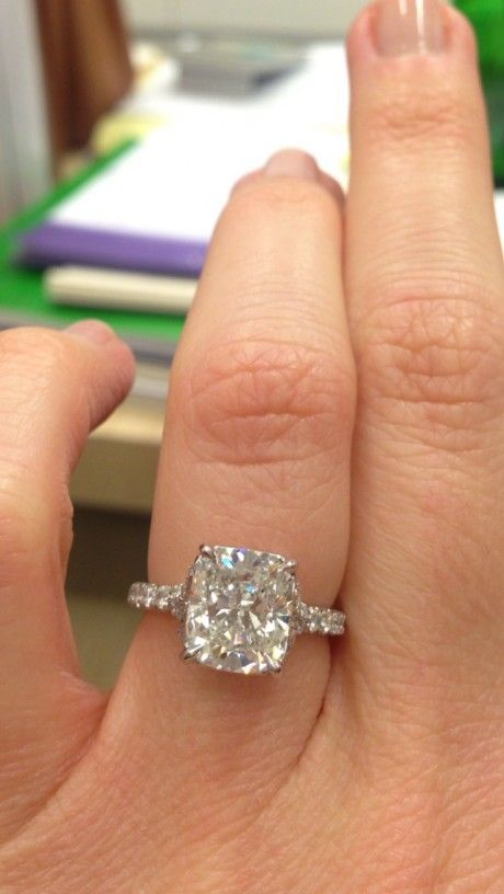dream ring!! ... elongated cushion solitaire (3 ct) with split prong pave band