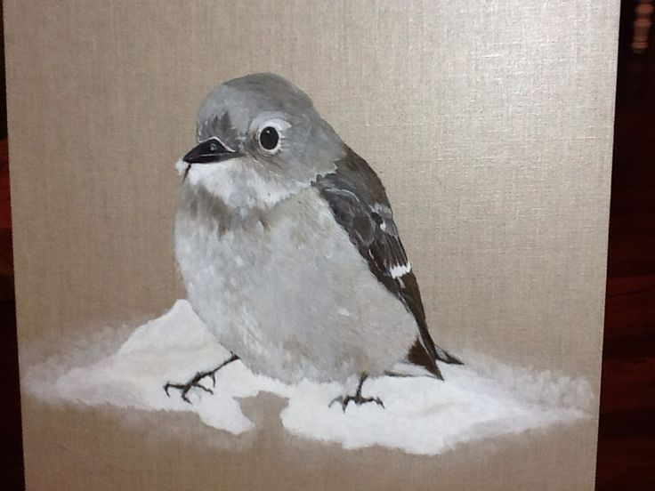 "Bird playing in snow 20""x 20""  On linen board For Sale $185 (www.artonpartridge.wix.com/artist)"