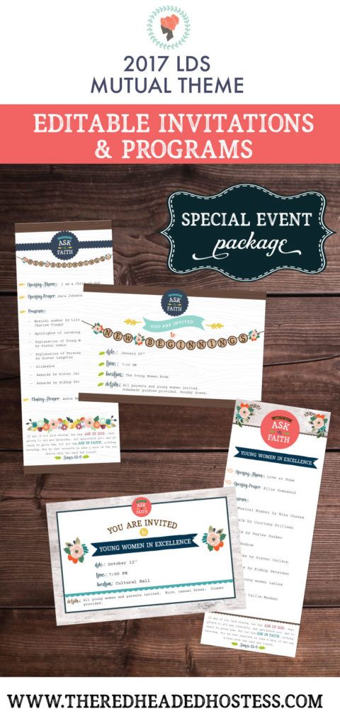 New Beginnings or Young Women in Excellence editable invitations that reflect the 2017 young women theme! So easy - just type onto the PDF and print.
