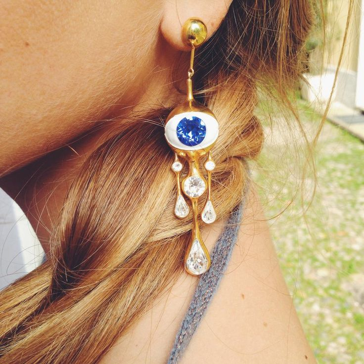Tears Silver 925 gold colored with swarovski sapphire and white crystal Made in Italy