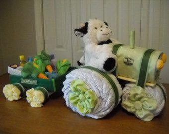 John Deere Tractor and Wagon Diaper Cake