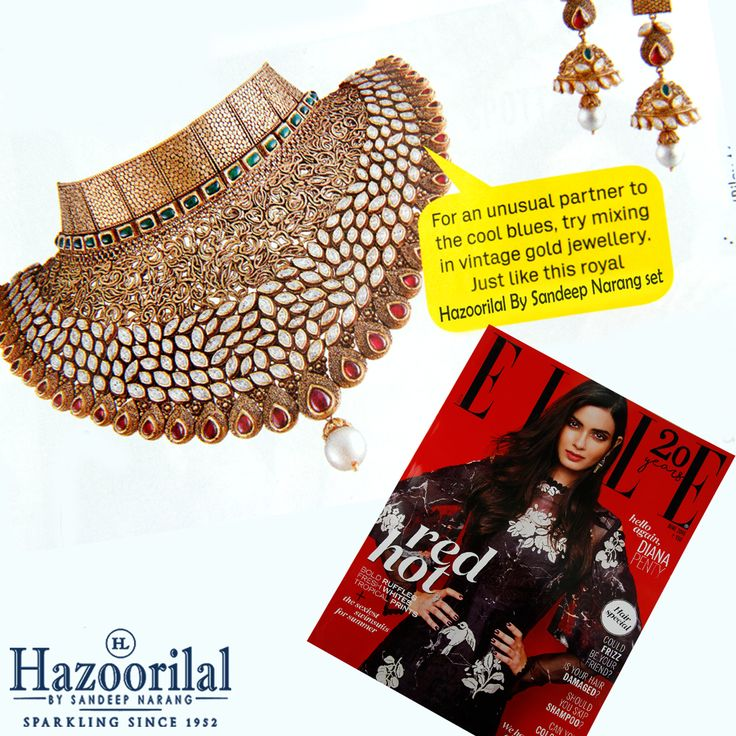 An exclusive neck piece in gold features in this month's Elle . #HazoorilalBySandeepNarang #HazoorilalPressRelease #GoldBridal #Vintage #Royal #FineJewelry #HLbySN #Hazoorilal