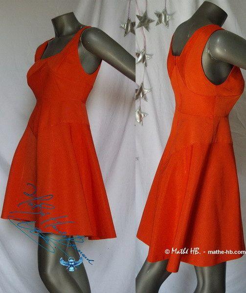 dress corail red trapezium cut retro styl zise par MatheHBcouture