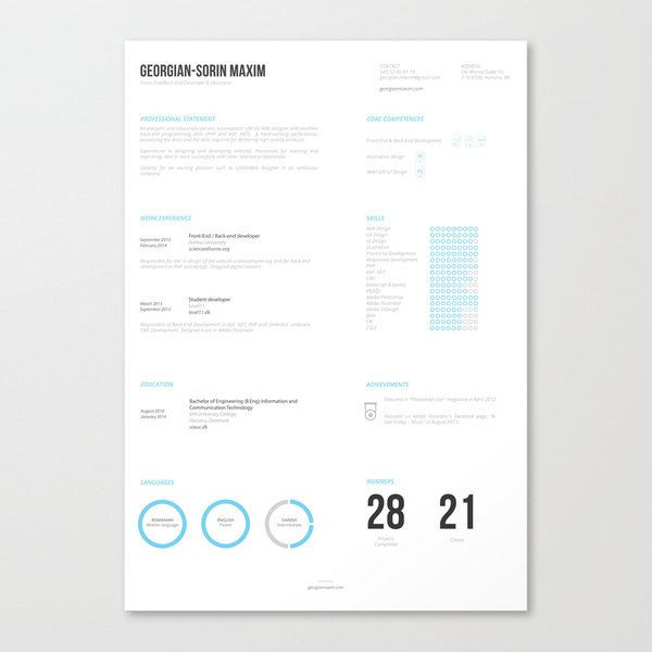 This template is refreshing (and even somewhat relaxing) to look at. | 21 Free Résumé Designs Every Job Hunter Needs