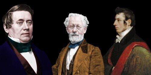 Just as the telegraph would convey information from one place to another, Leonard Gale (center) conveyed information about relays from Joseph Henry (left) to Samuel Morse (right).