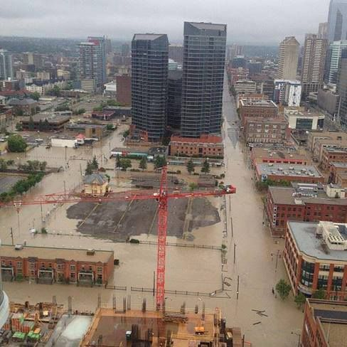 Downtown Calgary underwater! June 21, 2013.  Worst flooding ever in history.