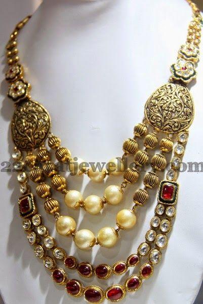 Jewellery Designs: Filigree Dull Finish Polki Haram