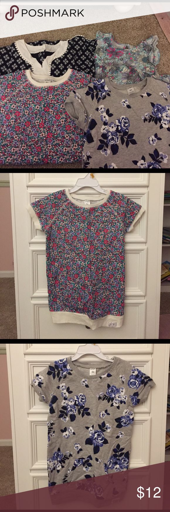 Lot of girls size 6x 2 Carter's terry sweatshirt tunics (one cream-colored with pink, purple and green floral print, one gray with blue floral print), both washed but unworn; 1 black and white Carter's shift dress, worn once; 1 turquoise, hot pink and lavender floral print tunic (Osh Kosh, gently used). 3 are 100% cotton, the black dress has some stretch as pictured from tag. Also, a white floral dress from Epic Threads (Macy's), worn once. Shirts & Tops