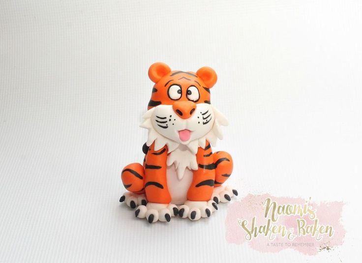 1x Edible jungle tiger animal approx 10-12cm fondant cake topper  #Birthday