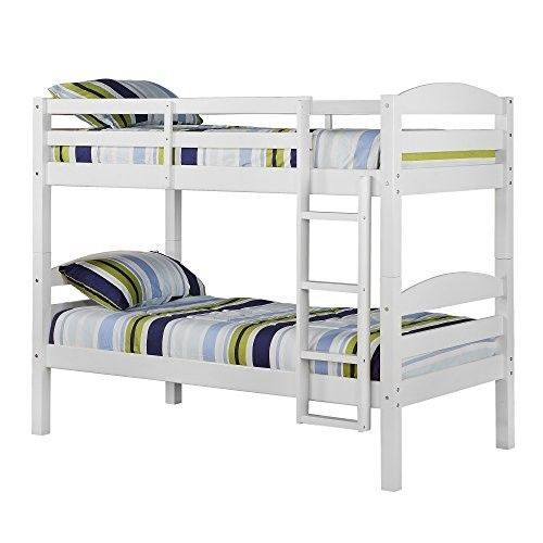 Furniture Bedroom Sets Twin Over Twin Solid Wood White Finish Kids Bunk Beds New #White