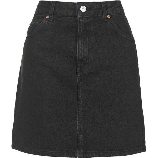 TOPSHOP PETITE MOTO High Waist Denim Skirt ($55) ❤ liked on Polyvore featuring skirts, black, petite, high waisted knee length skirt, black denim skirt, denim skirt, high-waisted skirts et topshop