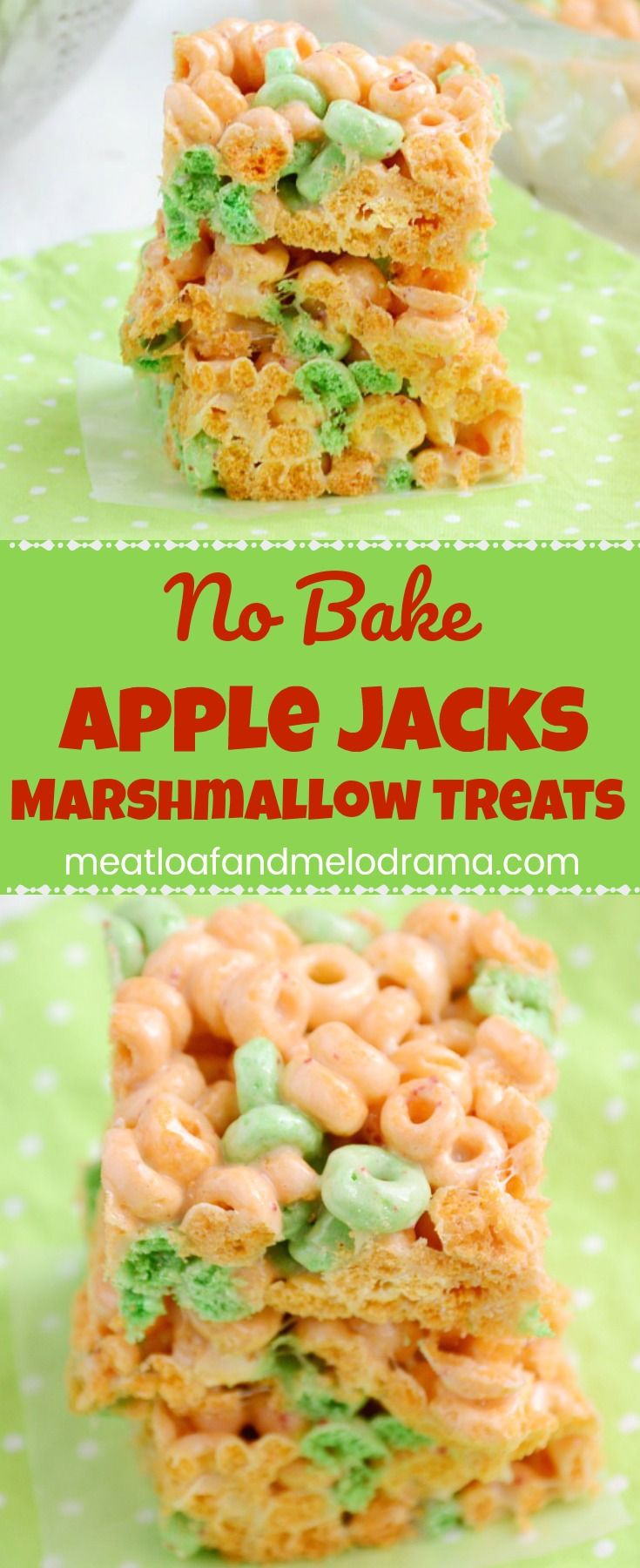 No Bake Apple Jacks Marshmallow Treats -- A quick and easy no bake dessert that's a perfect summer treat for kids of all ages and takes just a few minutes to make!