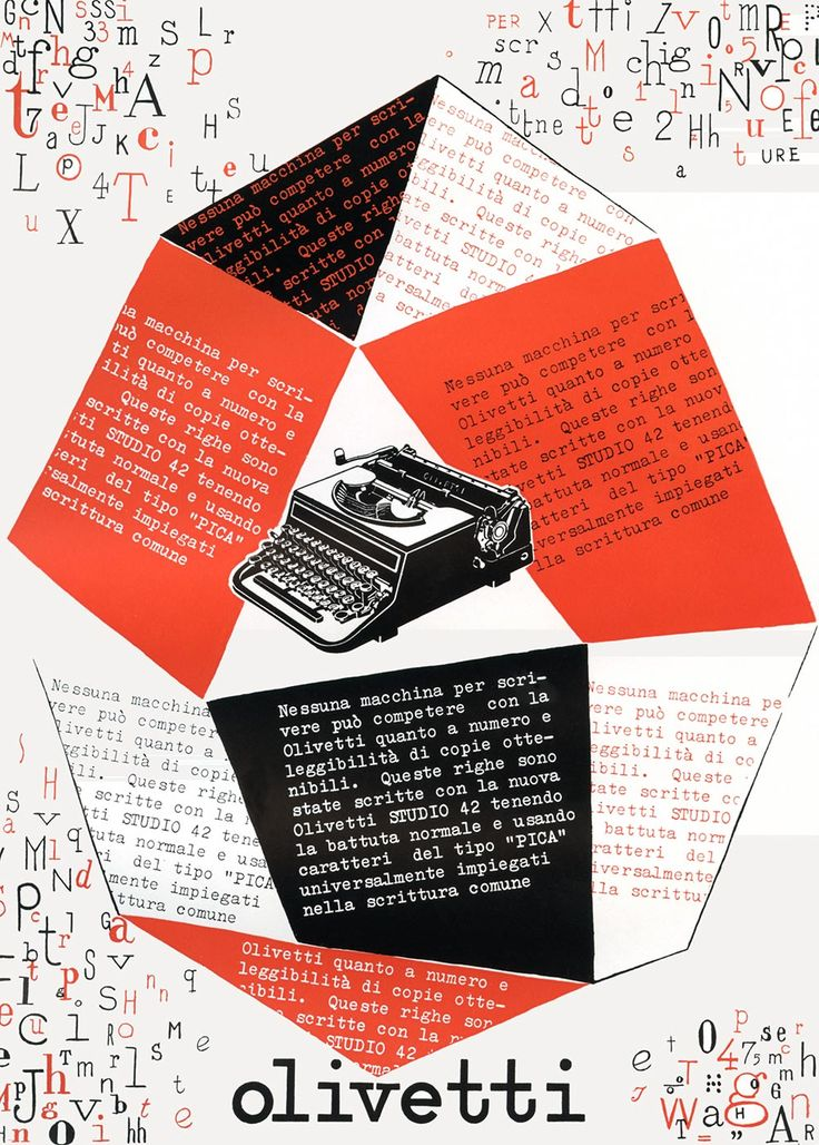 Ad for the Olivetti Studio 42 typewriter by Giovanni Pintori, 1939
