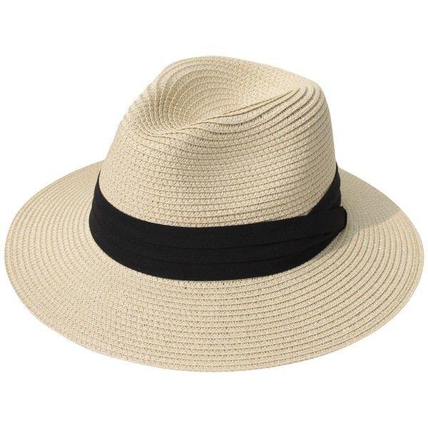 Lanzom Women Wide Brim Straw Panama Roll up Hat Fedora Beach Sun Hat... ($7) ❤ liked on Polyvore featuring accessories, hats, straw fedoras, khaki hat, straw hat, straw fedora hat and straw sun hat