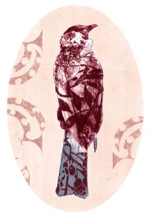 Ahakoa he iti- drypoint etching