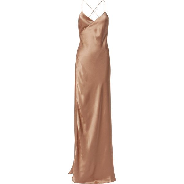 Terracotta Wrap Gown (41,975 DOP) ❤ liked on Polyvore featuring dresses, gowns, orange, open back dresses, low v neck dress, wrap dresses, silk dress and silk evening gowns