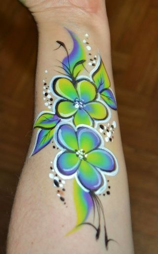 One stroke flower face painting