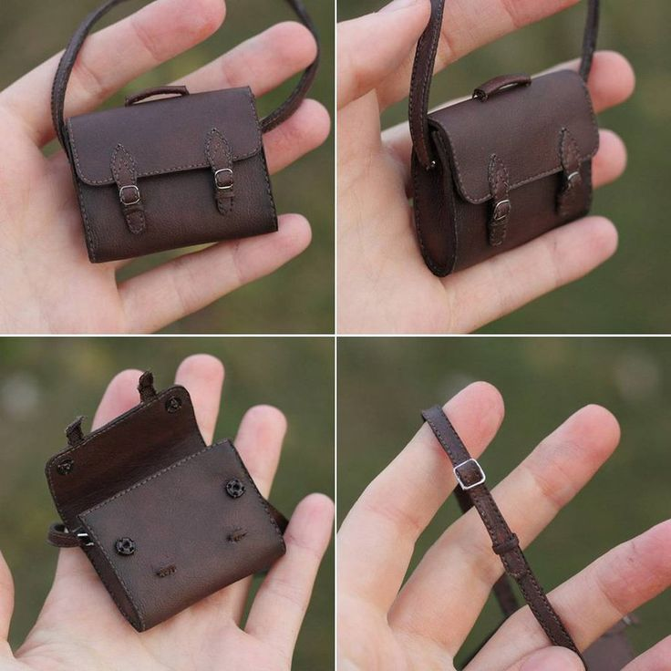 1/6 scale bag for a doll. Size: 4x5 cm. Materials: synthetic leather, cotton, wire, buttons.