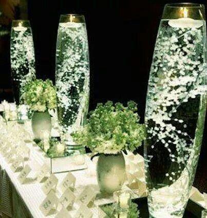 Sink baby's breath in a vase. It will look like lights.