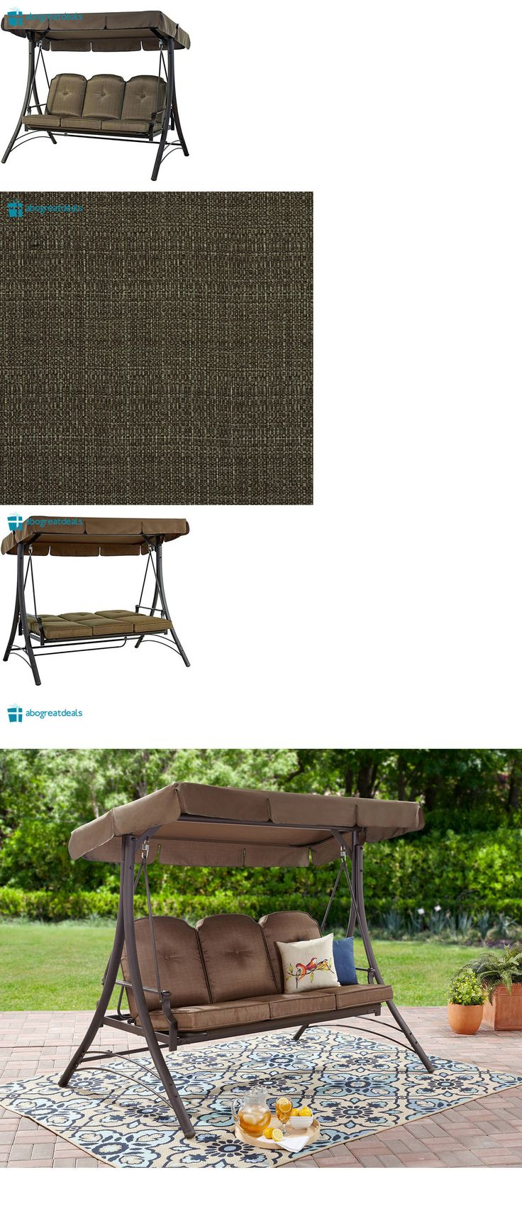 Outdoor hammock bed by the floating bed co - Swings 79700 Outdoor 3 Seat Porch Swing With Canopy Patio Furniture Cushion Chair Hammock Bed