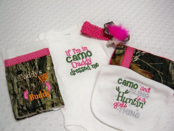 "Pink Camo 5 Piece Baby Girl ""If I'm in Camo Daddy Dressed Me"" Hot Pink and Camo Green Onesie, Burp Cloth, Wipe Case, Bib, & Headband Camo on Etsy, $45.00"