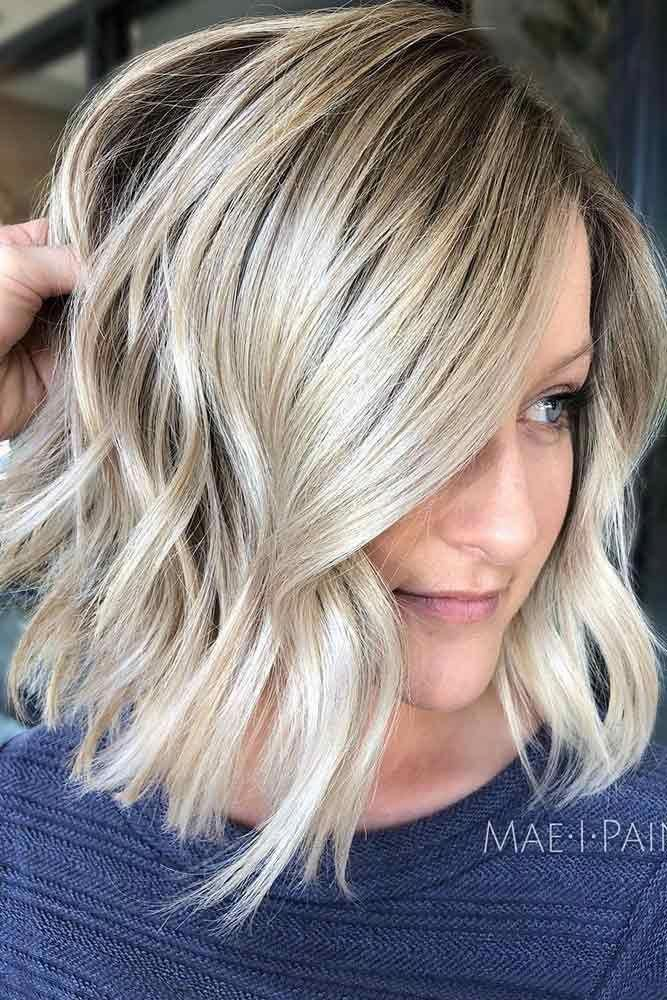 Blonde Balayage and Wavy A-Line Bob #invertedbob #alinebob #platinumblonde #blondehighlights ❤️ Explore the shoulder length bob hairstyles for thi