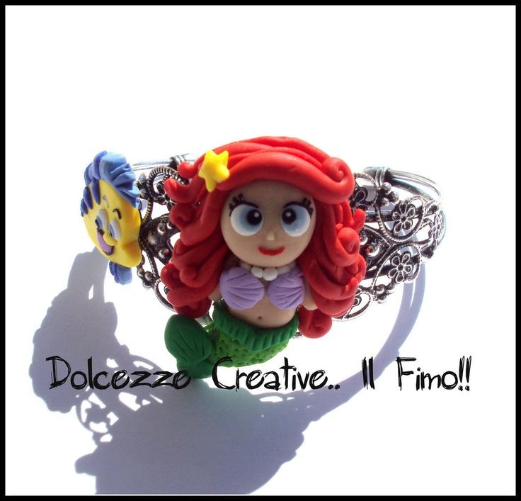 Bracciale rigido - bangle - sirenetta e flounder, by Dolcezze creative.. il fimo!!, 13,00 € su misshobby.com