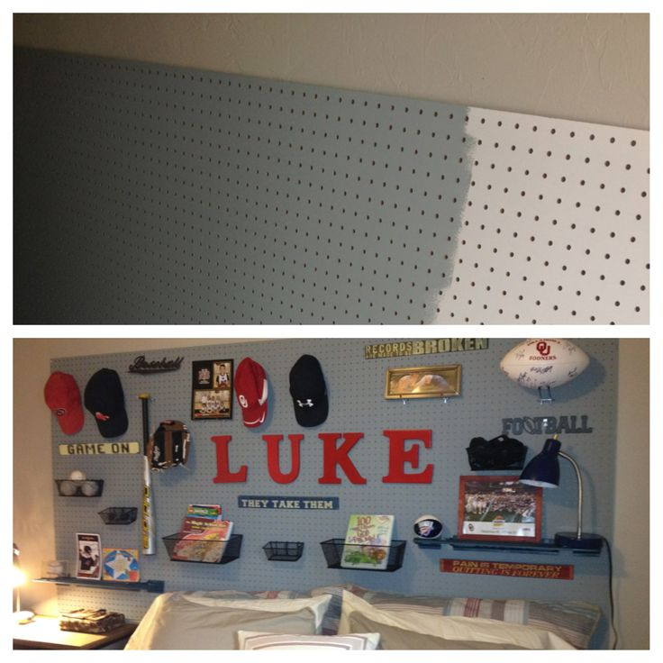 Transformed a basic 8x4 pegboard from Home Depot to a sports headboard.
