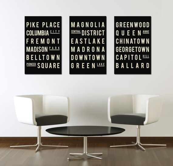 Industrial Subway Sign, Seattle Art Poster, Modern Typographic Print, City Map Style, Gift for Family Room, Quote Art, Set of 3