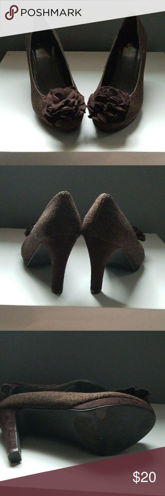 Brown Tweed Slight Platform Pumps Brown Tweed Slight Platform Pumps  Size 9. About 3.5 inch heels an .5 inch platform. Maurices Shoes Heels
