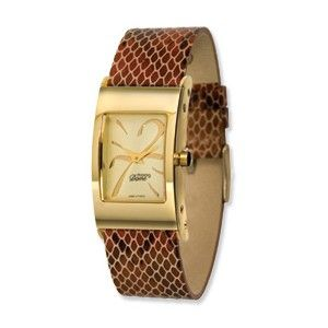 Moog Gold Plated Rectangle Domed Watch w/(PY-02G) Brown Band - SalmaWatches.com $199.95